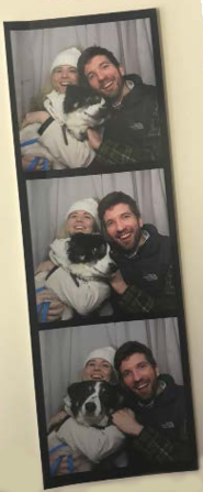 lizzie post and daniel post senning and sheepdog 'Benny' in a series of three photobooth pictures with alll three smiling