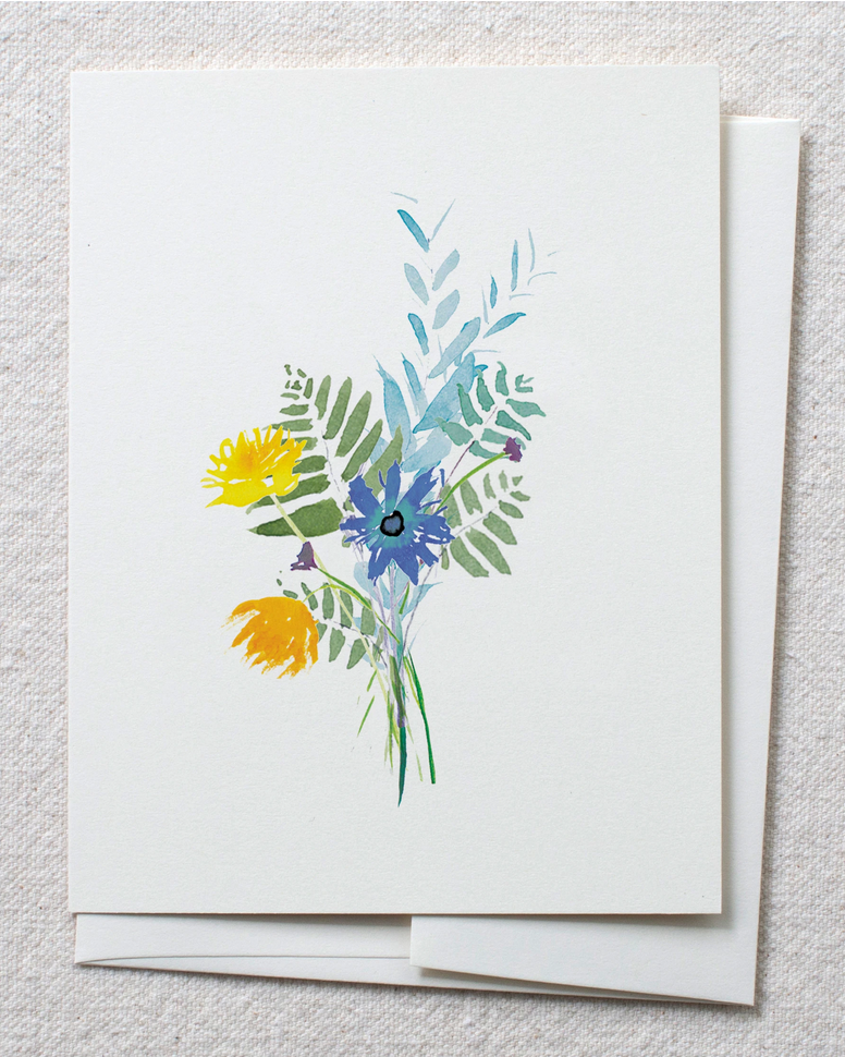 Card with wildflower and fern bouquet in watercolors