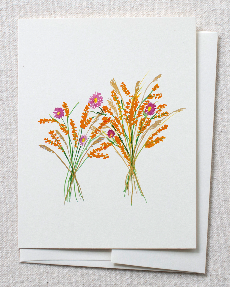 image of card and envelope with watercolor image of wildflower bouquets