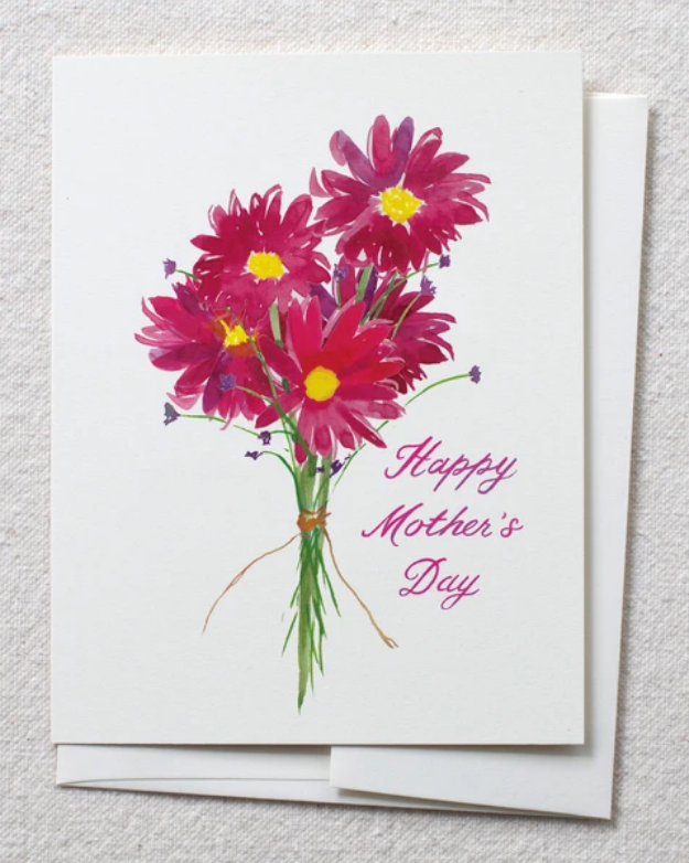 photo of card with watercolor gerbera bouquet and text reading'happy mothers day'