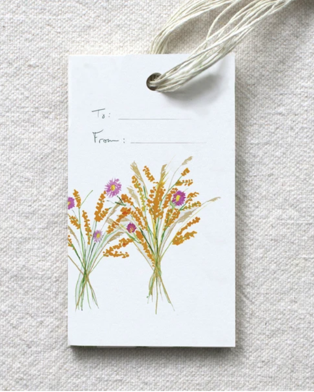 photo image of gift tage with tp; and from; fields and water color of harvest bouquet