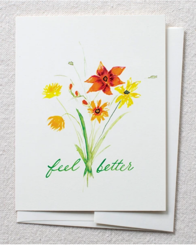 photo of card with watercolor fall colors bouquet and text reading ' feel better'