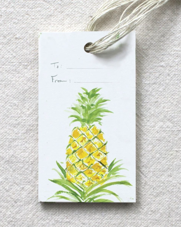 photo image of tag with blank to and from fields and watercolor image of pineapple