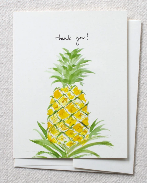 photo image of card with watercolor pineapple and the words 'thank you!'