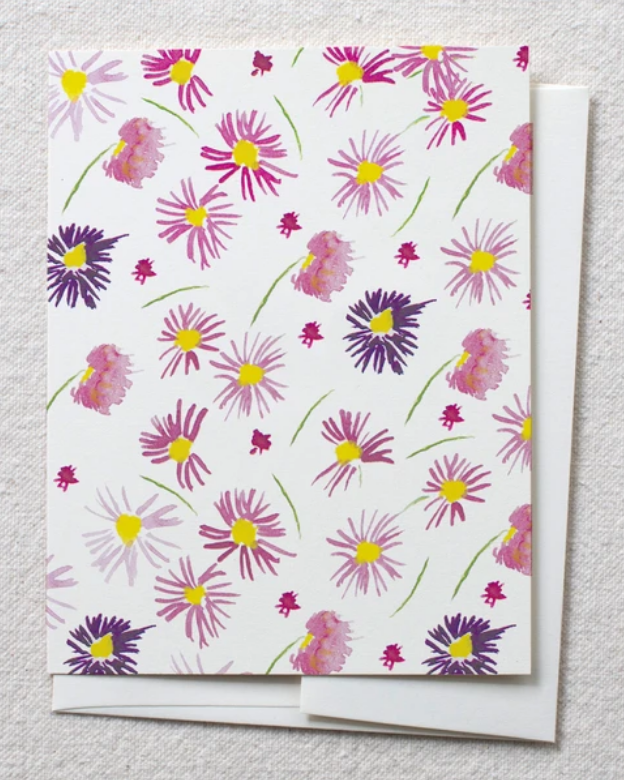 photo of card with watercolor purple astors