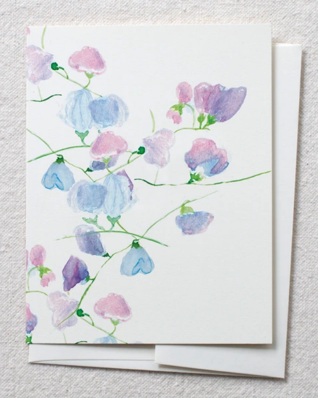 photo image of card with watercolor sweet pea flower