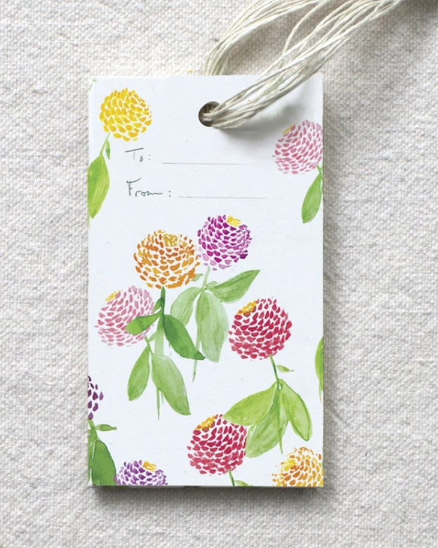 photo image of gift tag with blank to and from fields and watercolor image of Zinnias