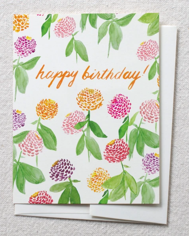 photo image of card with zinnias in watercolor and text reading 'happy birthday'