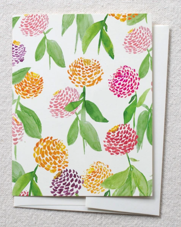 photo image of card with watercolor zinnias
