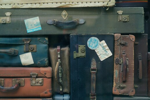 photo: stack of old suitcases