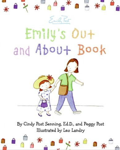 Cover image of emily's Out and About showing title and illustration of mother holding the hand of a little girl in a hat with a flower