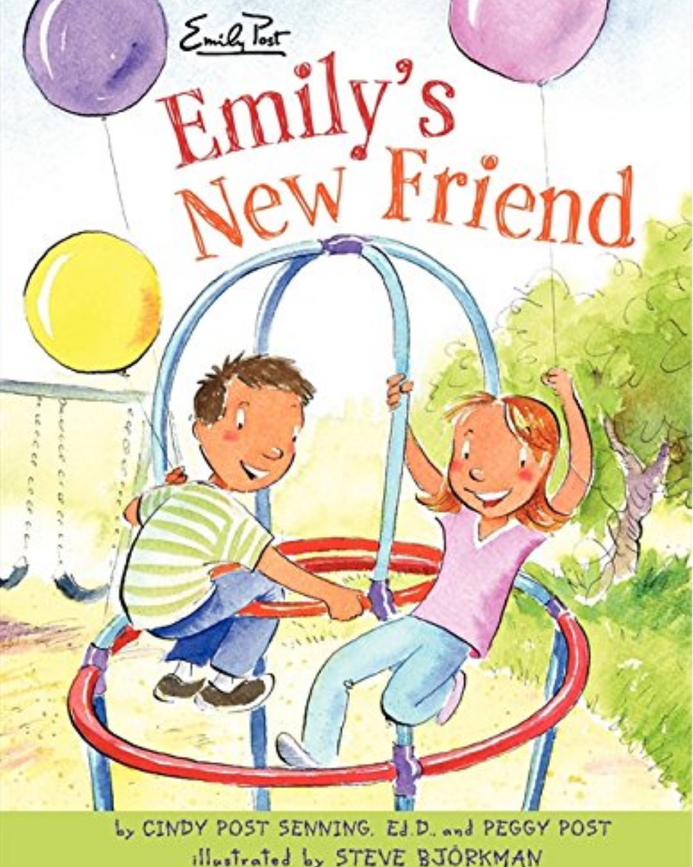 Emily's New Friend book cover image showing title and young emily playing at the playground with a friend holding balloons