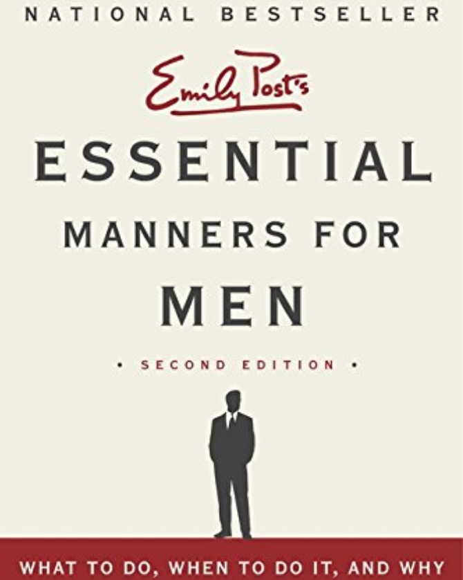 cover image for Emily Post's Essential Manners for Men 2nd edition showing title and a silhouette image of man in a suit