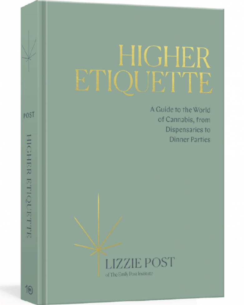 3D photo image of the book Higher Etiquette. Title is in gold leaf on a green canvas cover.
