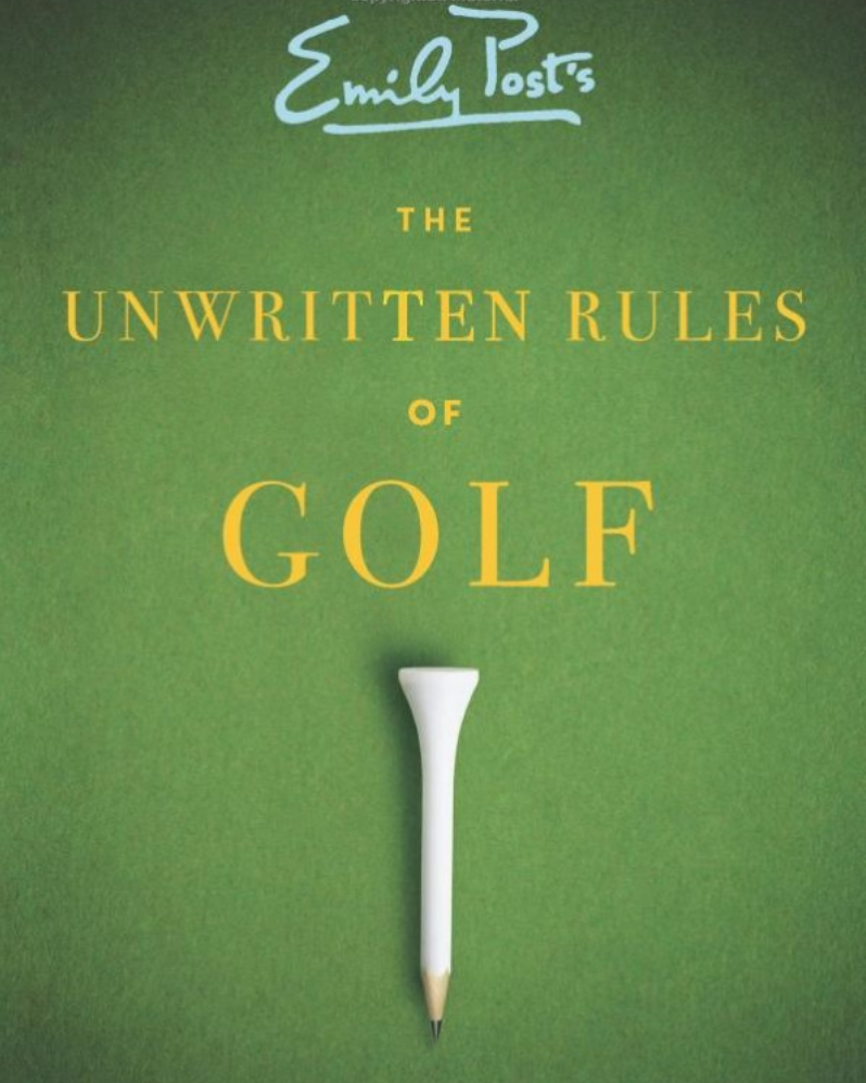 cover image of The Unwritten Rules of Golf showing title on a field of green with a golf tea pencile