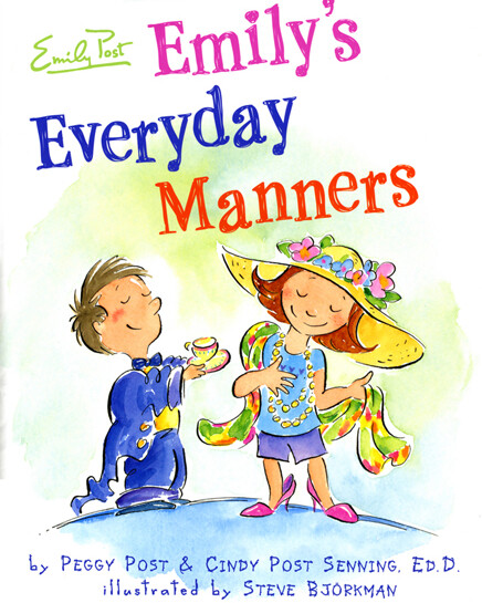 Illustrated cover image from Emily's Everyday Manners showing title and little boy offering a cup of tea playfully to a young emily