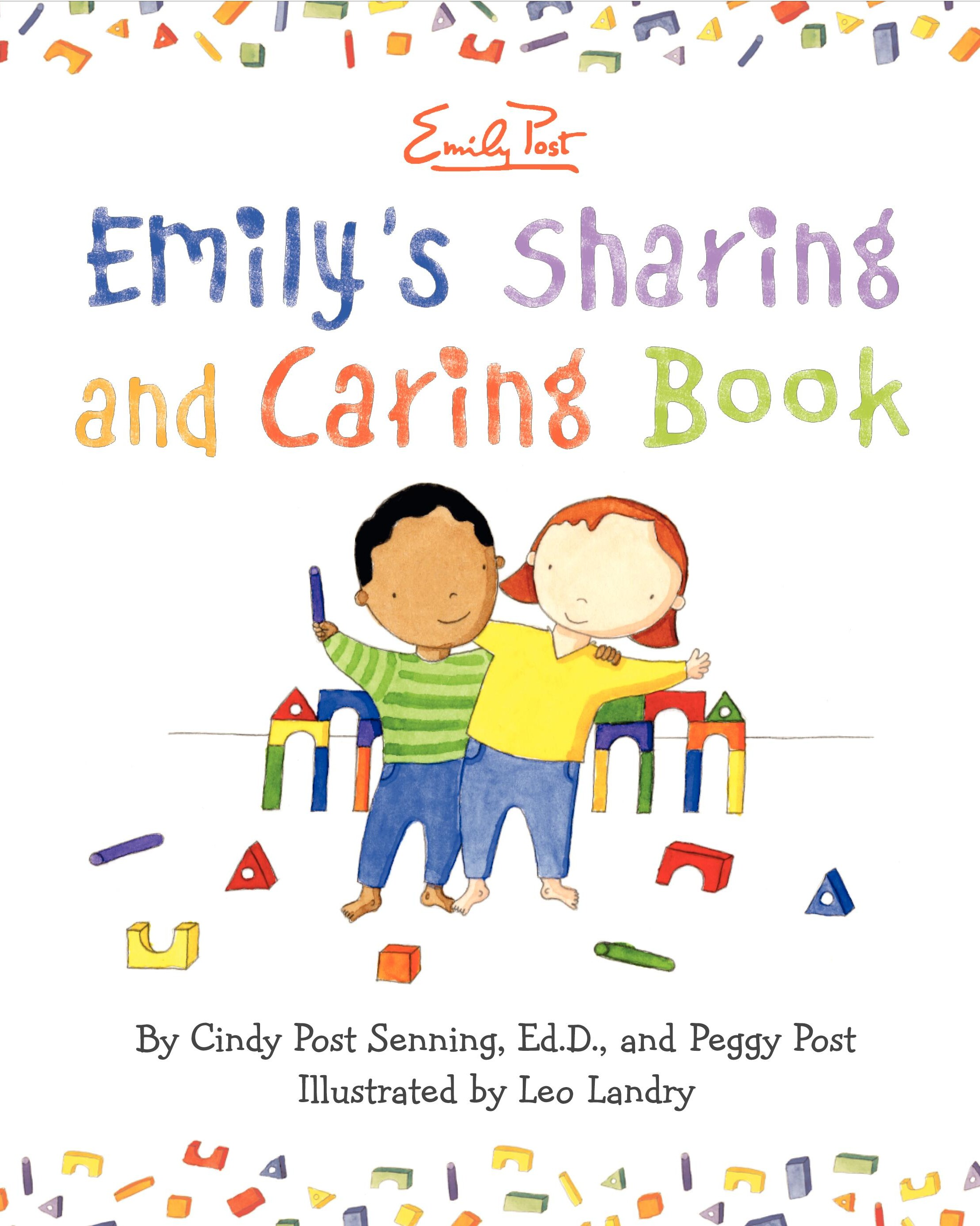 cover image of Emily's Sharing and Caring showing title and two children with arms arround each other holding colorful blocks