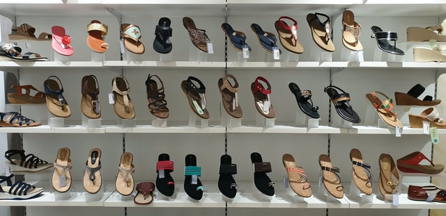 photo: store display of rows of dressy sandles