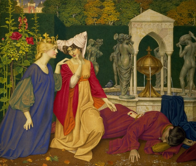 painting: middle ages, ladies at court look at a sleeping man in the garden