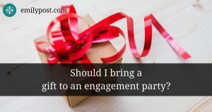 "gift box with red bow, and text overlay asking, ""Should I bring a gift to an engagement party?"""